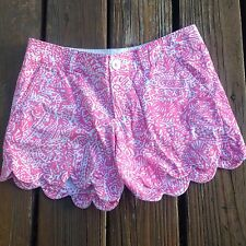 Lilly Pulitzer Shorts 0 XS Extra Small Pink Get Crackin Buttercup Scalloped EUC