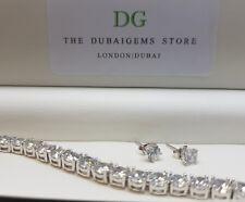White gold finish bracelet & earrings set comes in black luxury ebony box