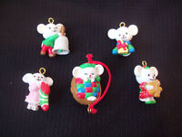 Vintage Mouse Miniature Christmas Ornaments Lot Of 5 circa 1990s