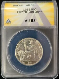 1936 French Indo-China Silver 50 Cent ANACS AU58 About Uncirculated