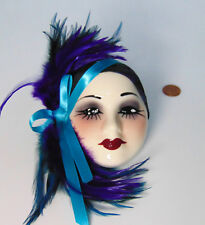 Unique Creations LADY FACE MASK Wall Hanging Decor Purple Teal Blue Feathers USA