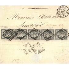 Cérès N°3a bande verticale de 5 timbres oblitérés grille sur pli de 1850, SUP. R