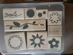 STAMPIN' UP  RUBBER STAMP SET 2005 PETAL PUSHERS TWO STEP FLOWER GARDEN LEAVES