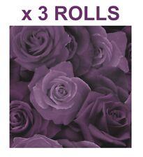 Austin Rose Wallpaper Floral Flowers - Arthouse Purple 675601