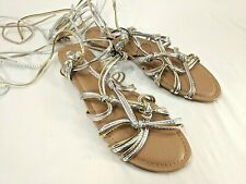 0f9238c0cb46 EXPRESS womens gold silver gladiator sandals size 9 NWOB