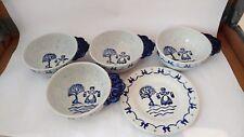 Poppytrail / Metlox Provincial Blue - 5 pcs 4x Individual Open Soup Bowls + BB