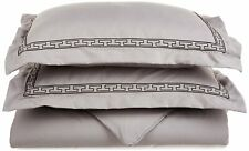 Brushed Microfiber Full/Queen Grey Duvet Cover W Black Embroidered Pillow Shams