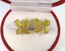8.45 CTW YELLOW SAPPHIRE EARRINGS - 14k WHITE GOLD over 925 STERLING SILVER