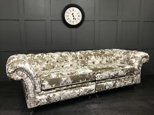 HANDMADE LUSTRO CRUSHED VELVET CHESTERFIELD SOFA 4 SEATER AVAILABLE IN 25 COLOUR