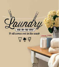 QUOTE: LAUNDRY wall stickers WASH DRY FOLD REPEAT 18 decals room decor clothes