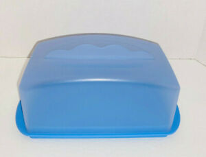 NEW Tupperware Butter Dish 1 lb. Large Keeper Tokyo Blue Impressions