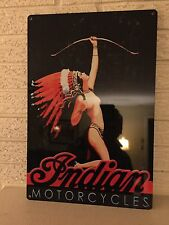 "Indian Motorcycles Logo Aluminum Sign New Size 12"" x 18"" Art Deco Indian Girl DL"