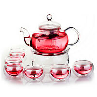 800mL Heat Resistant Glass Teapot Infuser Teapot+Warmer+6 Double Wall Tea Cups
