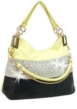 HANDBAG Rhinestone Accent Banded Handbag YELLOW/BLACK/TAUPE RHINESTONE