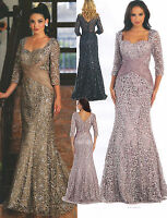 Elegant Modest Dress Pageant Cocktail Mother Of Bride/Groom Formal Gown M~5XL