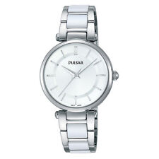Pulsar Ladies Stainless Steel White Ceramic Classic Dress Watch PH8191 UK Seller