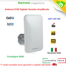 Antenna Amplificata TV digitale terrestre Interno Esterno UHF VHF FM 40dB LTE