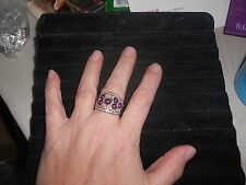 "Paparazzi Stretchband Ring (new) WIDE BAND W/PURPLE WINE BEADS & ""CRYSTALS"""