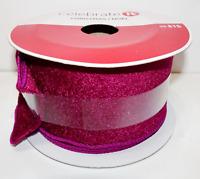 Celebrate It Christmas Wired Velvet Ribbon Purple Fuschia 2 1/2 in x 5 Yd New