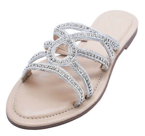 LADIES LEATHER EX-EVANS EXTRA WIDE FIT EEE FLAT SLIP-ON SANDALS SHOES SIZES 4-10