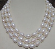 "natural real 8-9MM WHITE SOUTH SEA BAROQUE PEARL NECKLACE 60""A fashion beautiful"