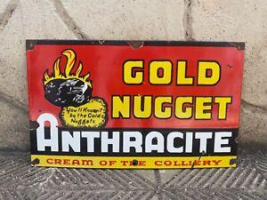 """Vintage """"Gold Nugget Anthracite"""" Porcelain Enamel Sign 12""""x20"""""""