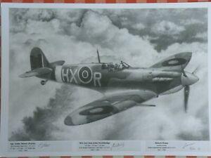 Spitfire pilot x 2 signed limited edition A3 print 100 only RAF WW2 61OTU