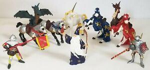 10 PAPO lot RED BLUE ARMORED & KING RICHARD Horses MERLIN Standard Bearer KNIGHT