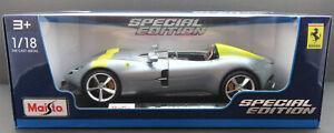 Ferrari Monza SP1 (2019) ~ Silver ~ 1:18 Metal Die Cast Car ~ Maisto