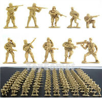 100 pcs Military Plastic Toy Soldiers Army Men Tan 1:36 Figures 10 Poses