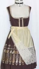 L 16 / BROWN DIRNDL Women German Waitress Hostess Oktoberfest DRESS + LACE APRON