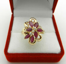 Cluster 14k Yellow Gold Ruby Ring with Natural Diamonds Accent size 7.5