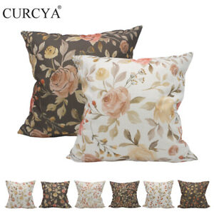 CURCYA Flowers Leaves Throw Pillow Covers Thick Like Linen Printed Cushion Cases