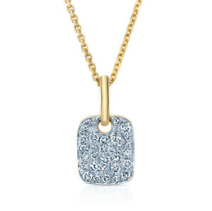 14K Two Tone Gold Diamond Pave Dog Tag Pendant Necklace Natural Round Cut 0.20CT