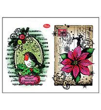 Stempel - Clearstamp -   Rotkehlchen & Weihnachtsstern von ViVa Decor