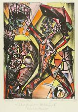 Hermann Naumann-Gerhart principal hombre-till lechuzas espejo-litografía 1990