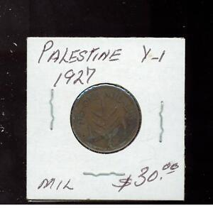 1927 Palestine Coin one mil  catalog # Y 1