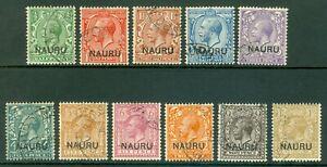 SG 1-12 Nauru 1916-23. ½d to 1/-. A very fine used set of 11 CAT £190