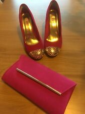 Hot Pink Court Shoes From Dolcis. Gold Toe Detail. Size 6.  Clutch Bag From Next