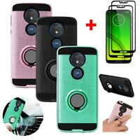 For Motorola Moto G7 Power Shockoroof Stand Case+Full Ccoverage Tempered Glass