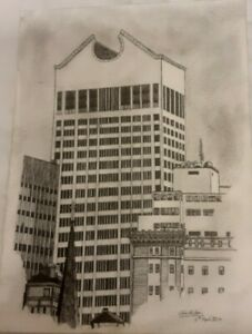Fine line pen and pencil drawing of part of New York skyline