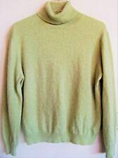 GRIFFEN Women's 100% Cashmere LS Turtleneck Sweater Light Green Sz PL