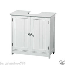 White Wood Double Door Under Sink Cabinet Storage Shelves Bathroom Tidy Wooden