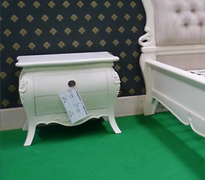 2 x Ivory (off white ) French style Rococo bedside tables, nightstand cabinets