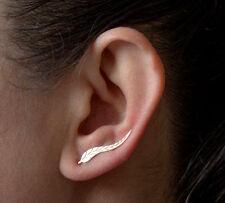 Gold Feather Ear Climber Earrings Set Cuffs Pins Ear Lobe Crawler New Jewelry