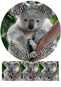 Cake Topper Birthday Koala Bear personal Rice paper,Icing fondant Sheet.1162