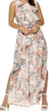 New Quiz Printed High Neck Side Split Chiffon Maxi Dress Size UK 10 RRP£29.99
