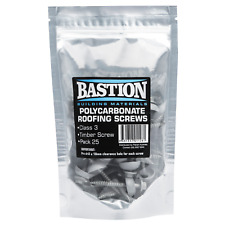 Bastion POLYCARBONATE ROOFING SCREWS 25Pcs Class-3 Zinc Coated, 5/16 Hex Head