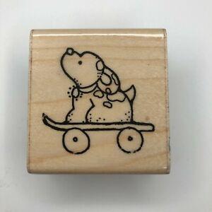JRL Design Puppy Dog on Skateboard Wood Mounted Rubber Stamp