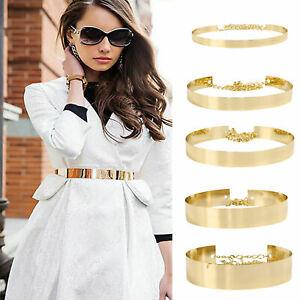 Women Full Metal Waist Mirror Wide Gold Plate Waistband Chains Belt